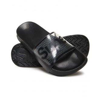 Superdry dámské pantofle POOL SLIDE - Průsvitné černé