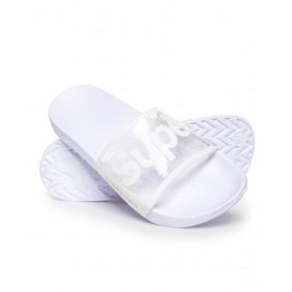 Superdry dámské pantofle POOL SLIDE - Průhledné bílé