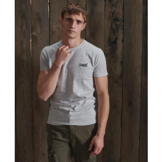 Superdry pánské tričko Embroidery - Světle šedá