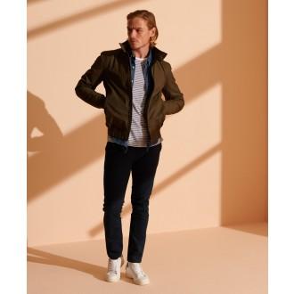 Superdry pánské kalhoty Core Slim Chino - Námořnická modrá