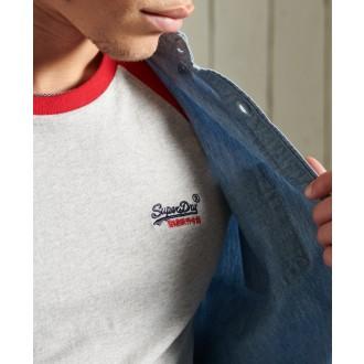 Superdry pánské triko Orange Label Baseball - Světle šedá