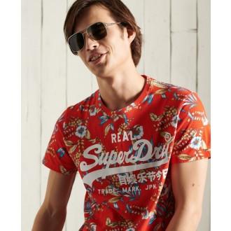 Superdry pánské triko Vintage Logo All Over Print - Červená
