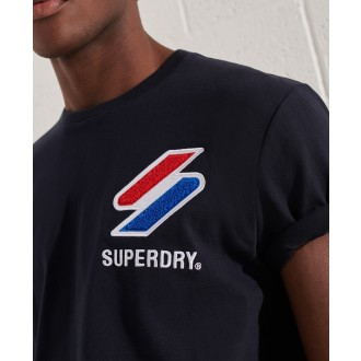 Superdry pánské triko Sportstyle Chenille - Tmavěmodrá