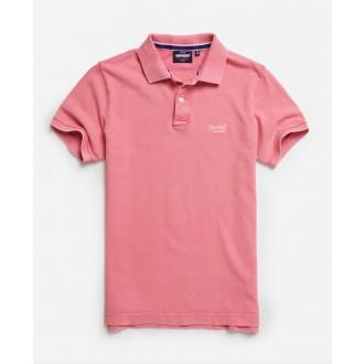 Superdry pánské triko Organic Cotton Vintage Destroyed Pique Polo - Růžová