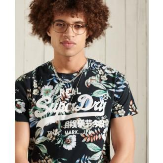 Superdry pánske tričko Vintage Logo All Over Print - Čierna