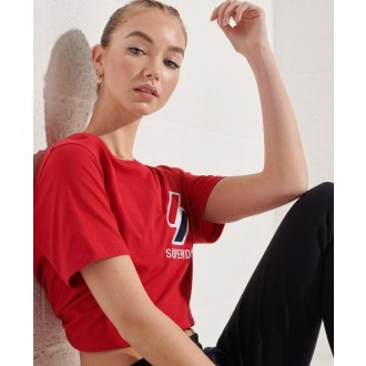 Superdry dámské triko Sportstyle Chenille - Červená