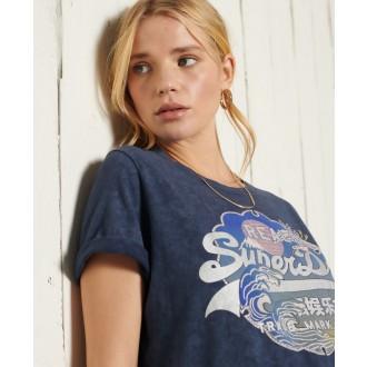 Superdry dámské triko Vintage Logo Itago - Tmavěmodrá
