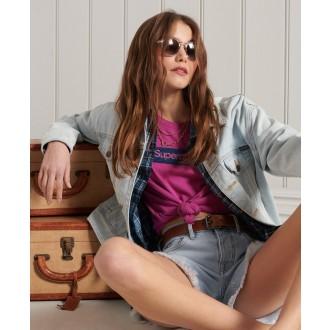 Superdry dámské triko Core Logo Workwear - Fialová