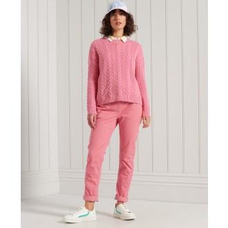Superdry dámské kalhoty Slim Chinos - Růžová