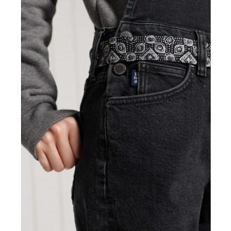 Superdry dámské riflové krátké kalhoty Utility Dungaree - Černá