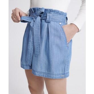 Superdry dámské krátké kalhoty Desert paperbag - Světlemodrá