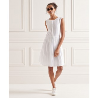 Superdry dámské šaty Textured Day - Bílá