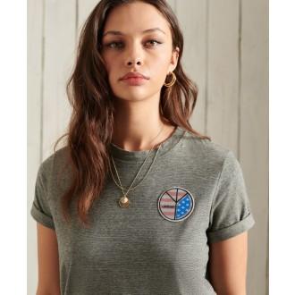 Superdry dámské triko Military Narrative - Tmavě šedá