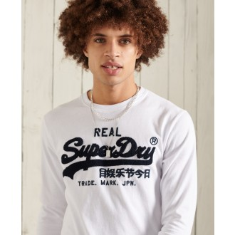 Superdry pánské triko s dlouhými rukávy Vintage Logo Chenille - Bílá