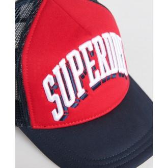 Superdry pánská kšiltovka Sport Tri Logo Trucker - Červená
