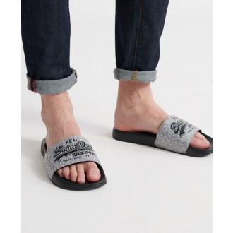 Superdry pánské pantofle Vintage Logo - Tmavě šedá