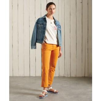 Superdry dámské triko Workwear Cropped Sweat - Krémová