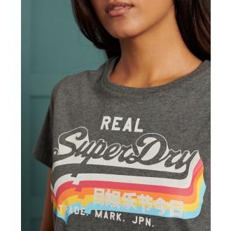 Superdry dámske tričko Vintage Logo - Tmavosivá
