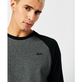 Superdry pánske dlhorukávové tričko Organic Cotton Vintage Baseball - Čierna