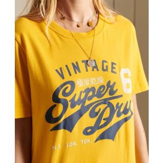 Superdry dámské tričko Script Style College - Žlutá