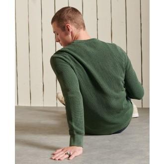 Superdry pánský pulovr Academy Dyed Textured - Zelená