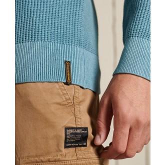 Superdry pánský pulovr Academy Dyed Textured - Modrá