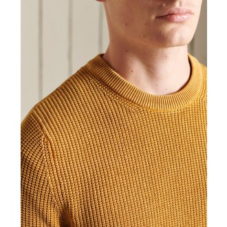 Superdry pánský pulovr Academy Dyed Textured - Žlutá