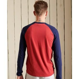 Superdry pánské tričko s dlouhým rukávem Organic Cotton Vintage Baseball - Červená