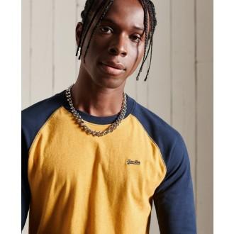 Superdry pánské tričko s dlouhým rukávem Organic Cotton Vintage Baseball - Modrá