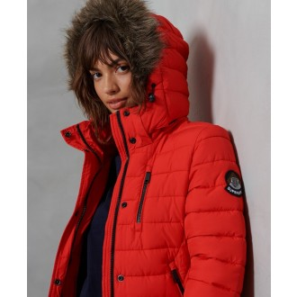 Superdry dámský zimní kabát Super Fuji Jacket - Červená