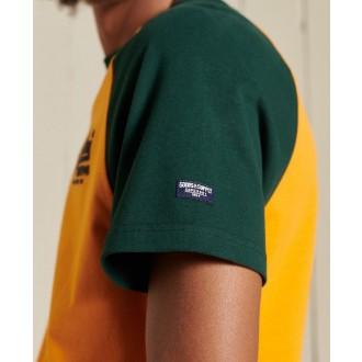 Superdry pánské tričko Vintage Logo Raglan Standard Weight - Žlutá