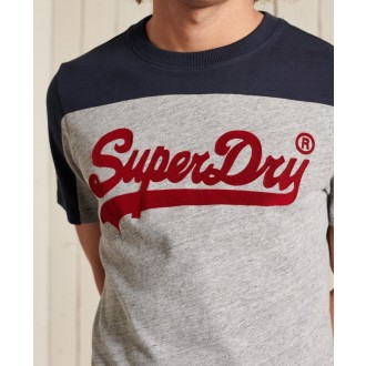Superdry pánské tričko Vintage Logo Ac Colour block - Šedá