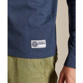 Superdry pánské tričko s dlouhým rukávem T & f - Modrá