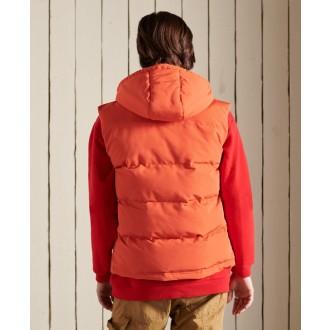 Superdry pánská zimní vesta Hooded Everest - Oranžová