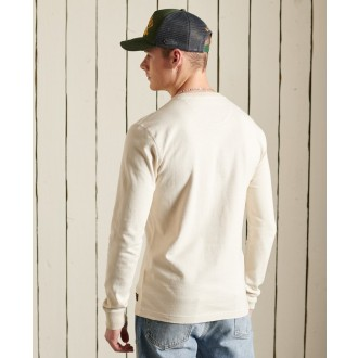 Superdry pánské tričko s dlouhým rukávem Organic Cotton Henley - Bílá