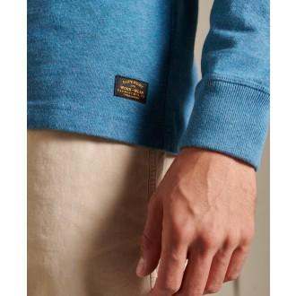 Superdry pánské tričko s dlouhým rukávem Organic Cotton Henley - Modrá