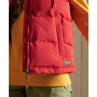 Superdry dámská zimní vesta Hooded Everest - Červená