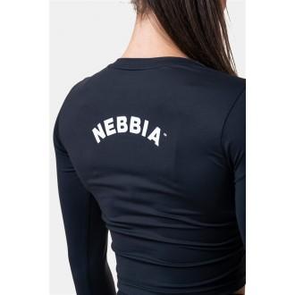 NEBBIA crop top s dlouhým rukávem Sporty HERO 585 - Černá