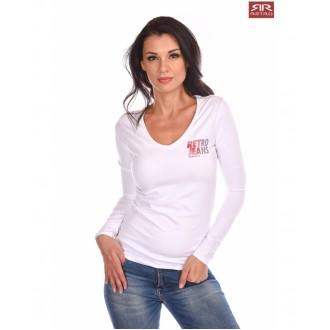 Retrojeans dámské triko s dlouhými rukávy Erin - Bílá