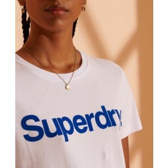 Superdry Dámské Triko Core Logo Flock - Bílé